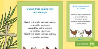 Comptine : Quand trois poules vont aux champs Poster format A4 - comptine, poule, chicken, nursery-rhyme, cycle 1,French