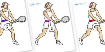 Phase 2 Phonemes on Tennis Players - Phonemes, phoneme, Phase 2, Phase two, Foundation, Literacy, Letters and Sounds, DfES, display
