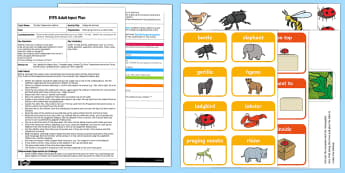 EYFS Hiding the Animals Adult Input Plan and Resource Pack - EYFS, Eric Carle, The Bad Tempered Ladybird, minibeasts, animals, positions, positional language, ma