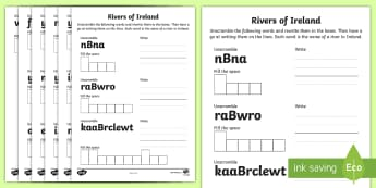 Rivers of Ireland Word Shapes Activity Sheet - ROI, The World Around Us, WAU,Irish, Worksheet, rivers, Ireland, words, puzzle, unscramble, game,