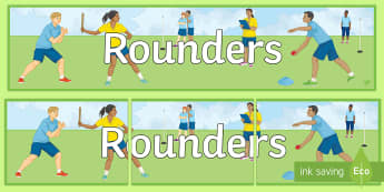 Rounders Display Banner - sport, board, display, bowl, ball, umpire, base