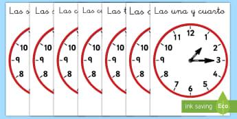Pósters DIN A4: Decir la hora con relojes analógicos - Y cuarto - reloj, relojes, leer la hora, lectura de la hora, analógico, y cuarto, y quince, hora y cuarto,Span