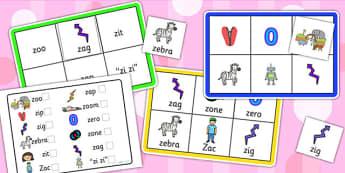Initial z Sound Bingo and Lotto Game - sound, bingo, lotto, game