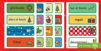 Illustrazioni con Vocaboli Decorative di Natale - decorativi, natale, natalizio, decorazioni, vocaboli, illustrazioni, natalizio, babbo natale, nativi