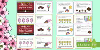 Spring Maths Challenge Cards English/Italian - NI Spring, fair, addition, subtraction, multiplication, division, mental math, money, pence.