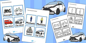 Mechanics/Garage Role Play Badges - Mechanics/Garage Role Play Pack, role play badge, garage,  mechanic, car, MOT, car parts, hydraulic lift, petrol, oil, role play, display, poster