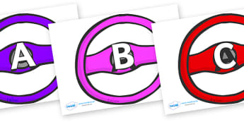 A-Z Alphabet on Steering Wheels - A-Z, A4, display, Alphabet frieze, Display letters, Letter posters, A-Z letters, Alphabet flashcards