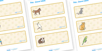 Editable Drawer- Peg - Name Labels (Pets) - Classroom Label Templates, Resource Labels, Name Labels, Editable Labels, Drawer Labels, Coat Peg Labels, Peg Label, KS1 Labels, Foundation Labels, Foundation Stage Labels, Teaching Labels, Resource