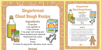Gingerbread Cloud Dough Recipe - Cloud, dough, christmas, EYFS, gingerbread