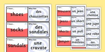 French Clothes Loop Cards - French, Clothes, Loop, Cards, France