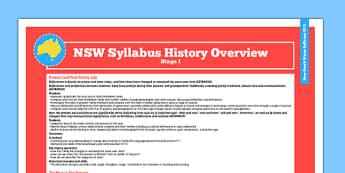 Australia NSW Syllabus History Stage 1 Overview - australia