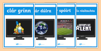 Television Programme Display Posters Irish Gaeilge - Gaeilge, Irish, television, T.V., programmes, posters, photos