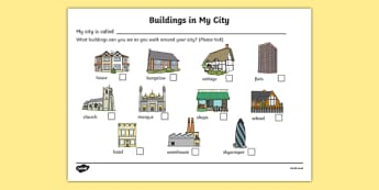 Buildings In My City Worksheet - houses and homes, house, home, building, worksheet, sheet, activity, my city, flats, church, shops, school, mosque, flats, brick, stone, detached, terraced, bathroom, kitchen, door, caravan, where we live, ourselves
