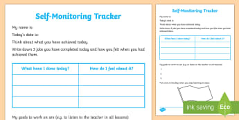 Self-Monitoring Recording Template - Young People & Families Case File Recording, referral, chronology, contents page, buddy system, safe