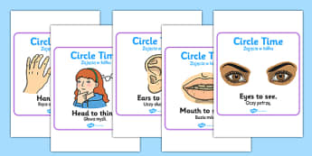 Circle Time Rules Square Display Posters Polish Translation - polish, Circle time, rules, rule, SEN, behaviour management, PSHE, SEAL, carpet time, circle, display banner, display, good sitting
