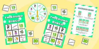 th Sound Bingo Game with Spinner - th sound, sounds, bingo, game