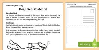 Deep Sea Postcard Activity Sheet, worksheet