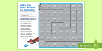 Racing Cars Mental Addition and Subtraction Game - KS2 Maths Working from home activity booklets, adding and subtracting, mental maths, mental addition