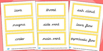 Yellow Volcano Vocabulary Word Cards - word, cards, vocabulary
