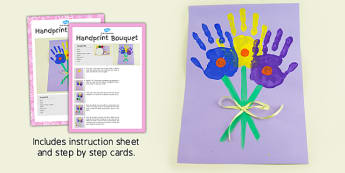 Handprint Bouquet Craft Instructions - EYFS, KS1, craft, flowers, spring, Mother's Day