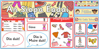 The Clothes Shop Role Play Pack Gaeilge - clothes, role play, shop, resource pack