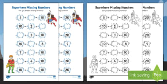 Superhero Missing Numbers Activity Sheet - Number bonds, pair, total, 10, 20, inverse, solve, reason, maths, numeracy, numbers, number pairs, m