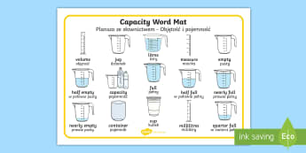 Capacity Word Mat English/Polish - Capacity Word Mat - capacity, measure, maths, numeracy, word mats, Capacity, volume, measure, litre,