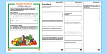 UKS2 Negative Numbers Differentiated Problem Solving Activity - KS2, Maths, negative, number, money, differentiated, backwards, forwards, zero, count, decimal place