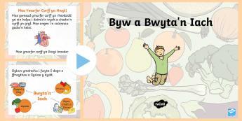 Pŵerbwynt Byw a Bwyta'n Iach - Dysgu Cymraeg fel Ail Iaith,Welsh