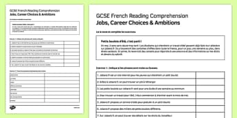 Petits boulots d'été Reading Comprehension Activity Sheet, worksheet