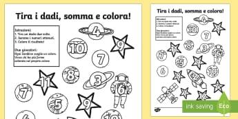 Tira i Dadi e Colora le Stelle Attività - stelle, italiano, italian, addizioni, matematica, colorare, colore, spazio, spaziale