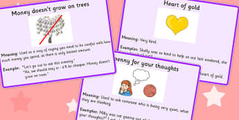 Money Idioms Meaning Cards - money, idioms, meaning, cards, card
