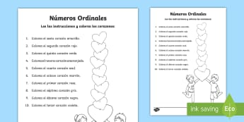 Ficha de actividad: Números ordinales - El día de la madre, Mother's Day in Spain, números ordinales, ordinal numbers, lee y colorea, rea