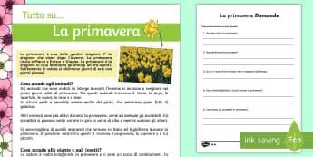 La Primavera Lettura Differenziata Lettura Comprensiva - primavera, stagione, stagionali, italiano, italian, lettura, leggere, domande, esercizio