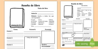 Ficha de actividad: Reseña de libro detallada  - ficha, ficha de actividad, reseña de libro, libro, reseña, resumen, lectura, escritura, ,Spanish