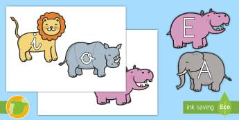 Tarjetas de fonemas: Vocales - La jungla - La jungla, trans-curricular, animales, salvajes, mono, elefante, hipopótamo, guepardo, cocodrilo, c