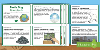 Earth Day Debate  Cards - KS2 Earth Day (April 22nd), debate, scenario, climate change, global warming, geography, global citi