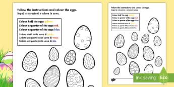 Fractions Colouring Sheet Easter Eggs English/Italian - maths, colour, worksheets, frctions, colering, frations, factions, colourng, fractiosn, couloring, e