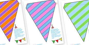Display Bunting (Stripes) - Bunting, display bunting, classroom bunting, decorative bunting, royal wedding, classroom display