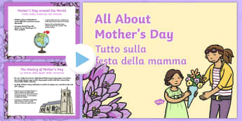 All About Mother's Day PowerPoint English/Italian - Presentation, PowerPoint, Mother's Day, Mother, Mothering Sunday, Mom, Mum, eyfa, pp, ppt, EAL, Ita