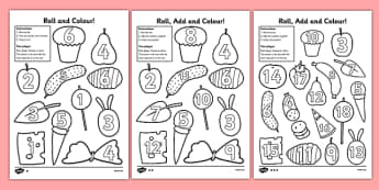 Roll and Colour Addition Activity to Support Teaching on The Very Hungry Caterpillar - the very hungry caterpillar, roll, colour, addition