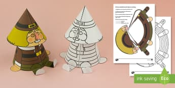 Simple 3D Cone Bobble Head Thanksgiving Pilgrim Activity Paper Craft