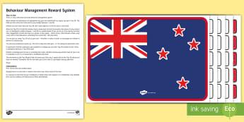 New Zealand Flag Behaviour Management Reward System - New Zealand Social Sciences, NZ, Social Studies, Year 1-3, reward system, behaviour management, flag