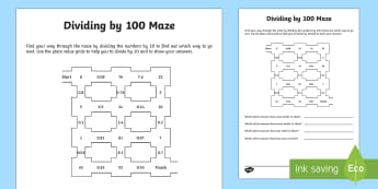 Dividing by 100 Activity Sheet - dividing, dividing by 10, place value, tenths, ones, units, decimal, Find the effect of dividing a o
