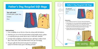 Fathers' Day Recycled Gift Bag Craft Instructions - Fathers' Day, dad, grandad, father, grandfather, greeting, gift bag, recycled, paper bag, craft ins