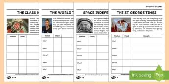 The Features of Newspapers Differentiated Activity Sheets - Neil Armstrong, writing, year 2, newspapers, reporting, features, features of news, types of text