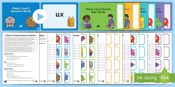 Phonics Screening Check Resources Support Pack - Phonics, Screening Check, Year 1, letters and sounds, real words, nonsense, psuedo, phase two, phase