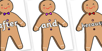 Connectives on Gingerbread Man - Connectives, VCOP, connective resources, connectives display words, connective displays