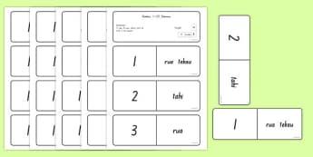 Numbers 1-20 Dominoes Te Reo Māori - te reo māori, new zealand, nz, dominoes