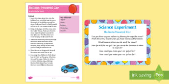 EYFS Balloon-Powered Car Science Experiment and Prompt Card Pack - Transport and Travel, car, balloon,air, pressure, science, air, investigation, eyfs